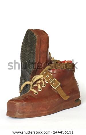 ski boots vintage 2 - stock photo