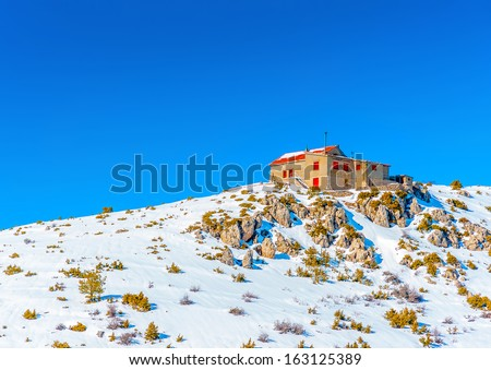 Ski center on the top of Ziria mountain in Korinthia in Greece - stock photo