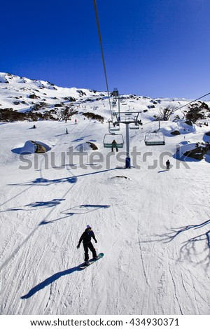 Ski chair lift and cable infrastructure in Perisher valley of Australian Snowy mountains. Popular ski resort with snowboarders and skiers on slopes of snow mountains tracks. - stock photo