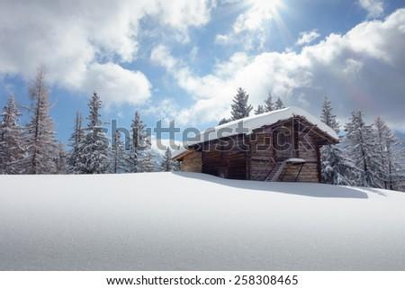 Ski chalet in the Austrian mountains - stock photo