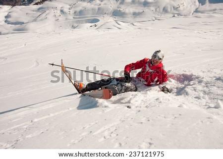 Ski crash - stock photo