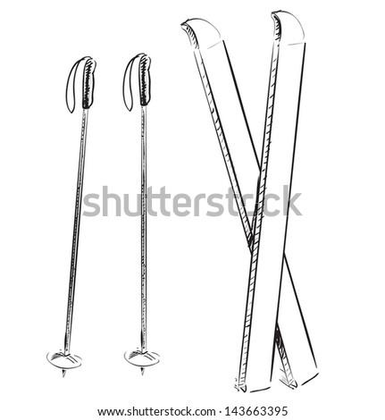 Ski Cartoon Sketch Vector Illustration Stock Vector 83593624 Shutterstock