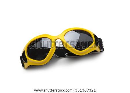 ski glasses isolated on white - stock photo