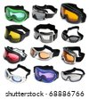 Ski goggles isolated on a white background - stock photo