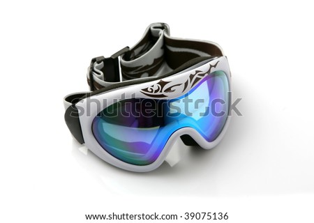 Ski goggles on white background - stock photo