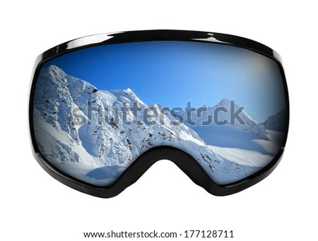 ski goggles with reflection of mountains isolated on white - stock photo