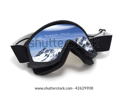 Ski goggles with reflection of mountains. Isolated on white background - stock photo