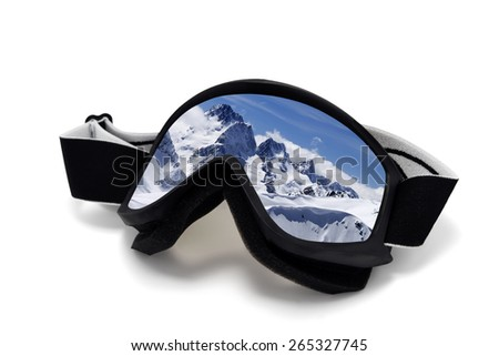 Ski goggles with reflection of winter mountains. Isolated on white background - stock photo