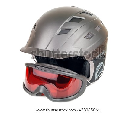 ski helmet and goggles on white background