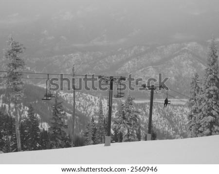 ski hill lift - stock photo