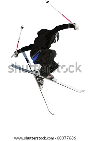 ski jumper in black isolated against a white background - stock photo
