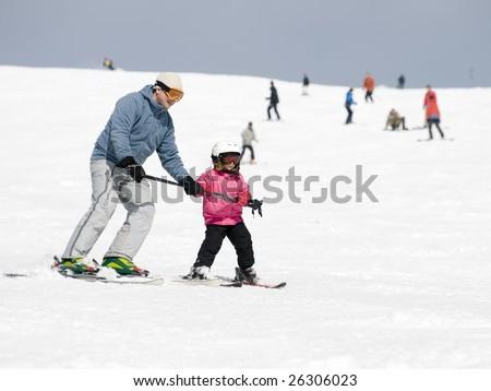 Ski lesson - stock photo