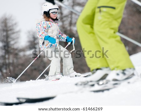 Ski lesson - stock photo