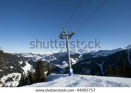 Ski lif in the French Alps, Areches