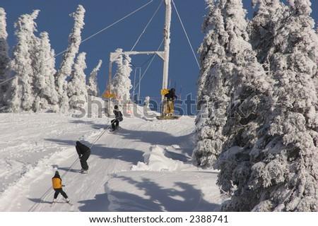 Ski Lift at Hurricane Ridge, WA - stock photo