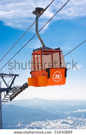 Ski lift cable booth or car - stock photo