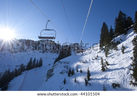 Ski lift in the French Alps, Areches