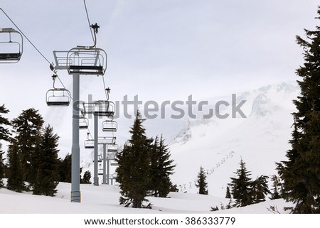 Ski Lifts up to the slope of Mount Hood Oregon during Winter Season - stock photo