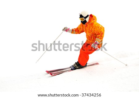 ski mountaineering freestyle alpinist isolated - stock photo