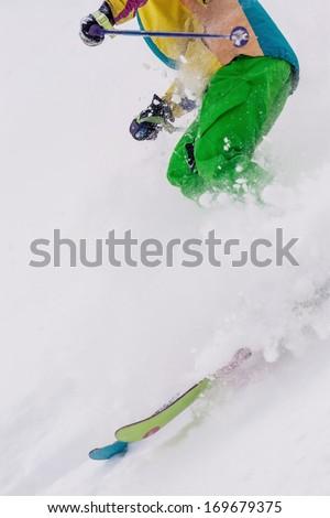 ski on fresh snow - stock photo