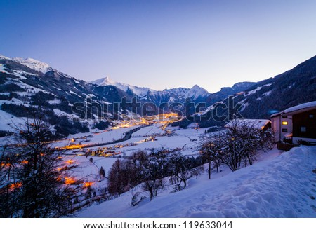 Ski resort at night. Night view of the bird's-eye view of the valley of Zell am Ziller, Tirol, Austria