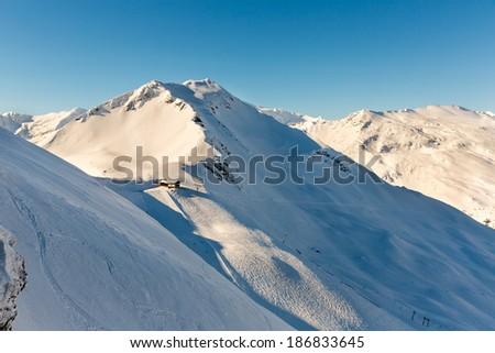 Ski resort Bad Gastein in winter snowy mountains, Austria, Land Salzburg,  Austrian alps - nature and sport background - stock photo