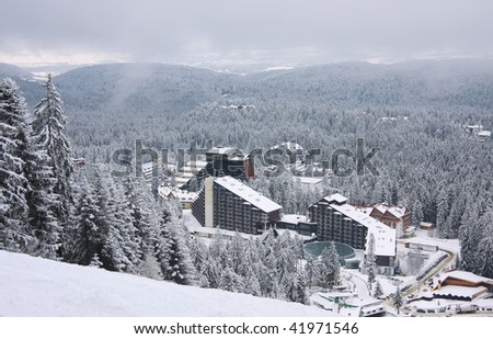 Ski resort Borovets, Bulgaria. Hotel complex and panorama of winter mountains