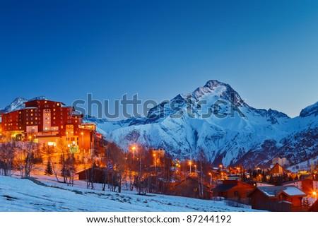 Ski resort in Alps - stock photo