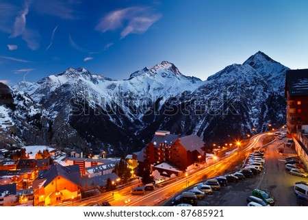 Ski resort in Alps - stock photo