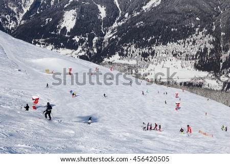 Ski resort in Austria - Bad Gastein in High Tauern (Hohe Tauern) mountain range in Alps. - stock photo