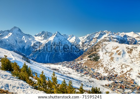 Ski resort in French Alps - stock photo