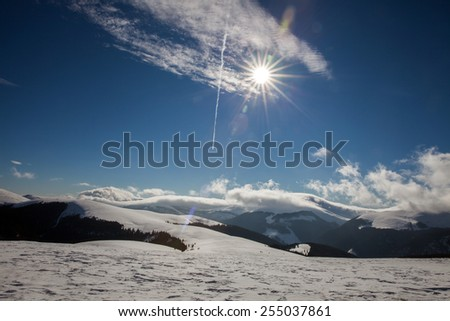 Ski resort in Romania by lake in Carpathian Mountains - Vidra Transalpina