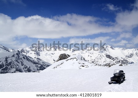 Ski resort in sun day. Caucasus Mountains, region Dombay. - stock photo