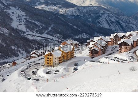 Ski resort in the alps, Valmeinier - stock photo