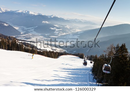 Ski resort in the Dolomites, South Tyrol, Italy.