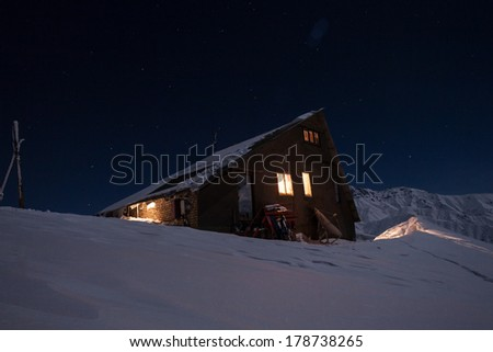 Ski resort in the mountains in winter