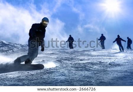 Ski resort Italy , man snowboarding - stock photo