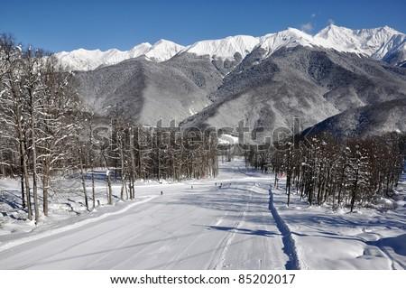 Ski resort, Krasnaya Polyana, Sochi - stock photo