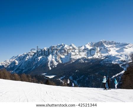 Ski resort Madonna di Campiglio. Italy - stock photo