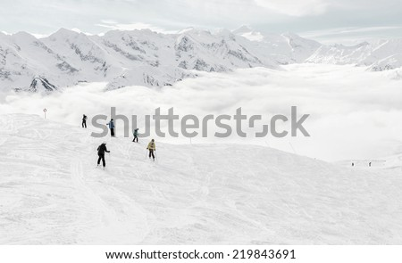 Ski resort of a valley of Zillertal in bad weather - Mayrhofen region, Austria - stock photo