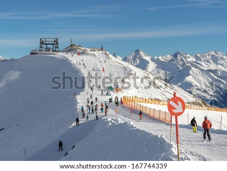 Ski resort of a valley of Zillertal - Mayrhofen region, Austria - stock photo