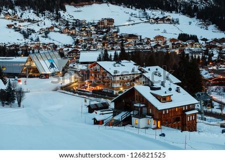 Ski Resort of Corvara at Night, Alta Badia, Dolomites Alps, Italy - stock photo