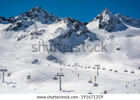 Ski resort of Neustift Stubai glacier Austria - stock photo