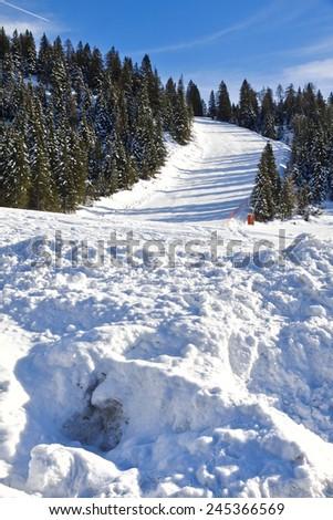 Ski resort of Ski Area Monte Verena, on the Alps. Italy - stock photo