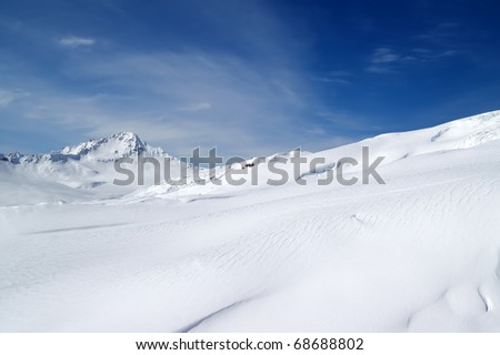 Ski resort. Slope of Elbrus - stock photo