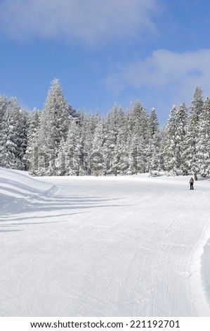 Ski resort slope with skier - stock photo