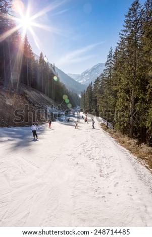 ski resort under blue sky - stock photo