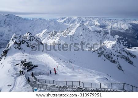 Ski Resort 4 Valley Switzerland. Mountain Mont-Fort.  - stock photo