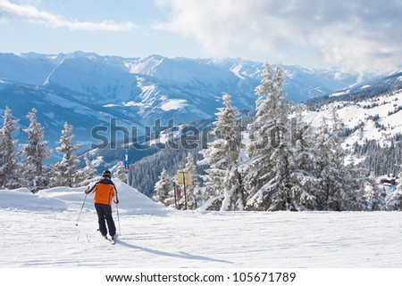 Ski resort Zell am See. Austria - stock photo