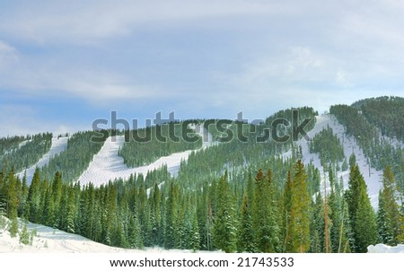 Ski Runs And Lift - stock photo